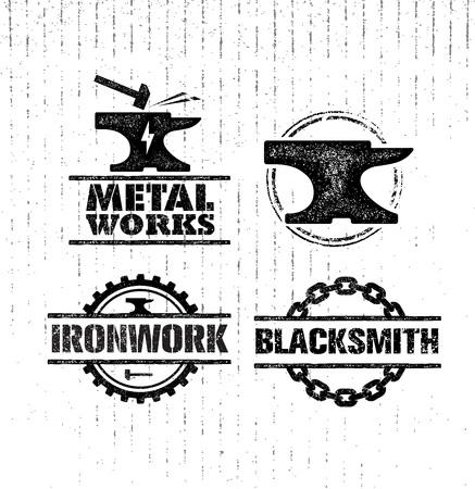 Set of vintage blacksmith labels, badges, emblems and design elements. Rough illustration. Stock Photo