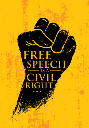 Free Speech Is A Civil Right. Inspiring Creative Social Vector Typography Banner Design Concept On Grunge Wall