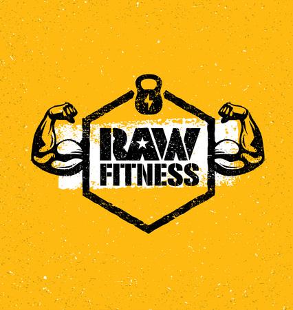 Raw Fitness Creative Design Element Sport Concept On Grunge Distressed Background. Gym Workout Illustration.