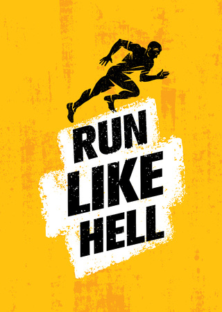 Run Like Hell Creative Sport Motivation Concept. Dynamic Running Man Illustration On Grunge Background Çizim