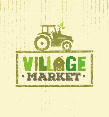 Village Market Rough Stamp Concept. Local Food Sign Illustration On Craft Paper Background.