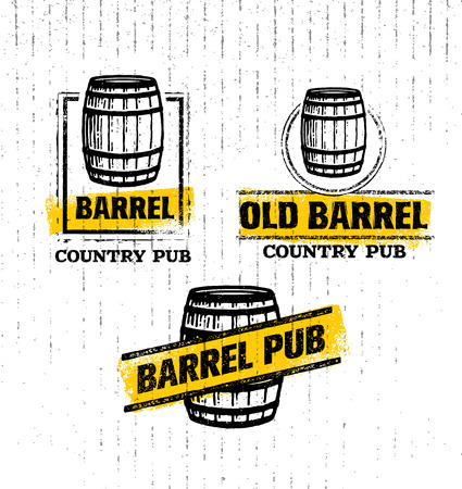 Old Barrel Creative Sign. Stamp Design Element Concept On Grunge Distressed Background Иллюстрация