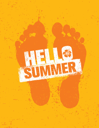 footprint sand: Hello Summer. Bright Creative Footprint Sand Beach Vector Illustration Concept On Distressed Background.