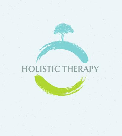 Ganzheitliche Therapie Baum mit Wurzeln auf organischen Papier Hintergrund. Natürliche Eco freundliche Medizin Vektor Konzept