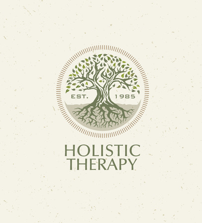 Holistic Therapy Tree With Roots On Organic Paper Background. Natural Eco Friendly Medicine Vector Concept Stok Fotoğraf - 72608361