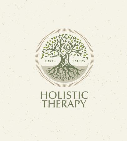 Rbol de terapia holística con raíces en el fondo de papel orgánico. Concepto de vector de medicina ecológica natural Foto de archivo - 72608361