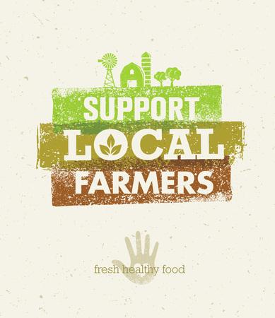 ローカル食糧市場。農場食卓からから創造的な有機ベクトル概念リサイクル用紙の背景