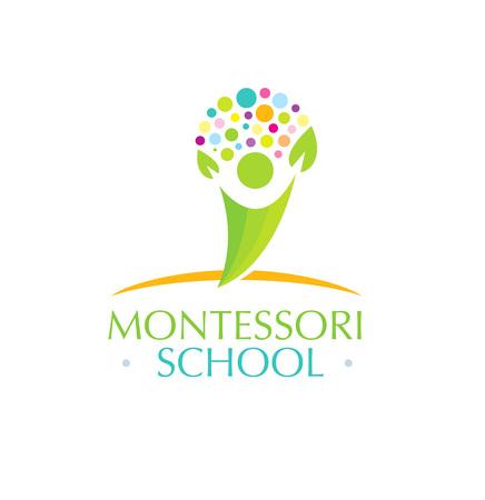 Montessori School Creative Vector Kids Friendly Concept Illustration