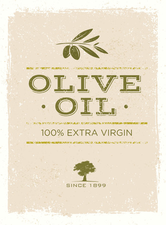 Organic Olive Oil Rough Vector Illustration on Grunge Background