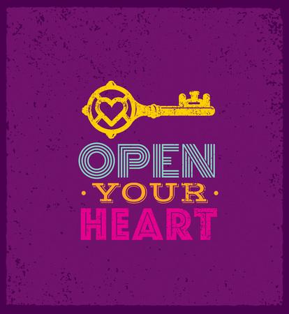 Open je hart. Leuk capricieus motivatiecitaat. Vector uitstekende typografie Concept op Grunge achtergrond.