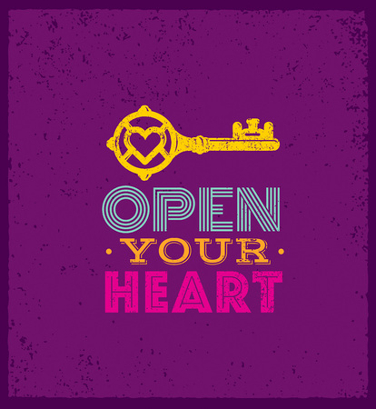 Open Your Heart. Cute Whimsical Motivation Quote. Vector Outstanding Typography Concept On Grunge Background.