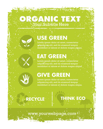 Organic Eco Green Vector Banner Background and Icons. Creative Nature Friendly Concept