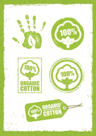 Organic Cotton Creative Concept. Eco Green Set Of Vector Icons.