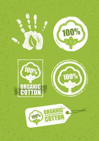 Organic Cotton Creative Concept On Grunge Rust Background. Eco Green Set Of Vector Icons. Illustration
