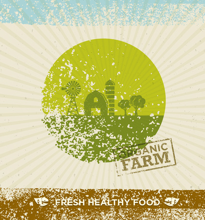 Organic Farm Fresh Healthy Food Eco Green Vector Concept on Paper Background.