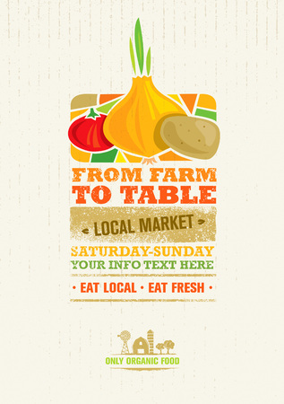 From Farm To Table Fresh Local Food Print Concept. Creative Organic Banner Illustration