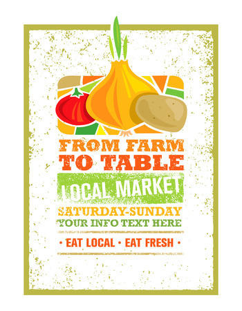 From Farm To Table Fresh Local Food Print Concept. Creative Organic Banner On Grunge Distressed Background
