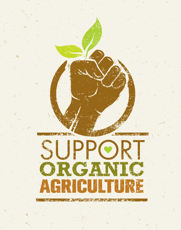 Support Local Farmers. Creative Organic Eco Vector Illustration on Recycled Paper.