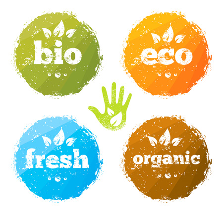 Organic Eco Food Creative Rough Design Concept. Eat Local Fresh Products Illustration.