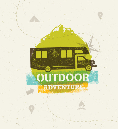 Off Road Outdoor Adventure Vector Illustration Rough Concept On Grunge Background