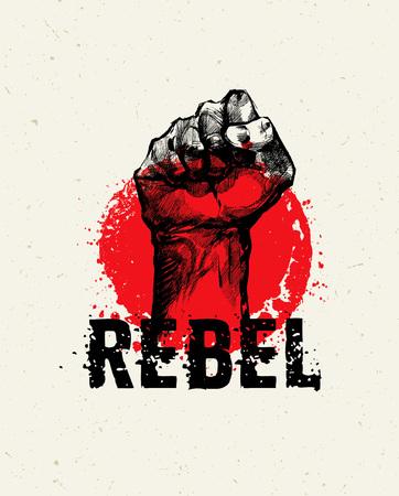 Révolution SocialProtest Creative Grunge Vector Concept sur Rough Grunge Background Banque d'images - 73471486