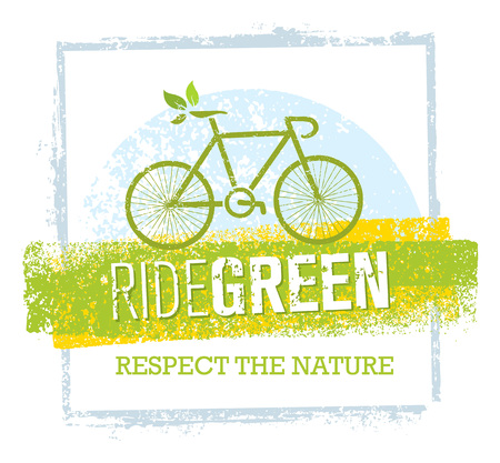 Ride Green Creative Eco Vector Bicycle Illustration on Recycled Paper Background Illustration