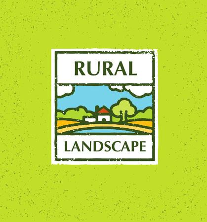 labranza: Agriculture and Farming. Agribusiness. Rural landscape. Design element. Rough Vector illustration.