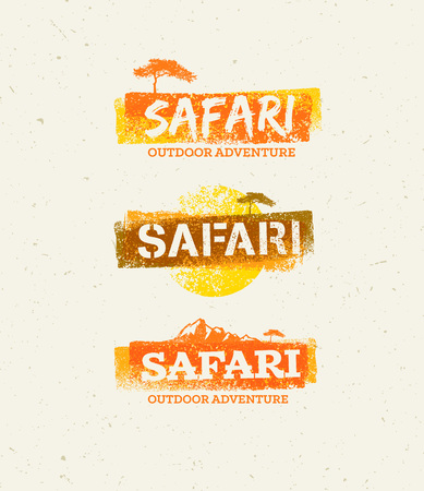 Safari Outdoor Adventure Vector Design Elements. Natural Grunge Concept on Recycled Paper Background Ilustracja