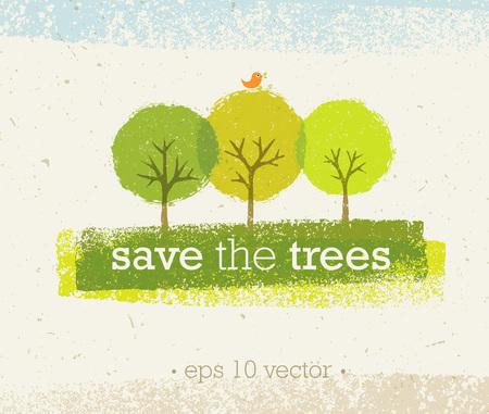 Speichern Sie die Bäume grobe Eco Illustration auf Papierhintergrund