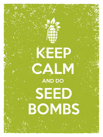 Keep Calm And Do Seed Bombs. City Gardening Activity Vector Eco Poster Concept. Illustration