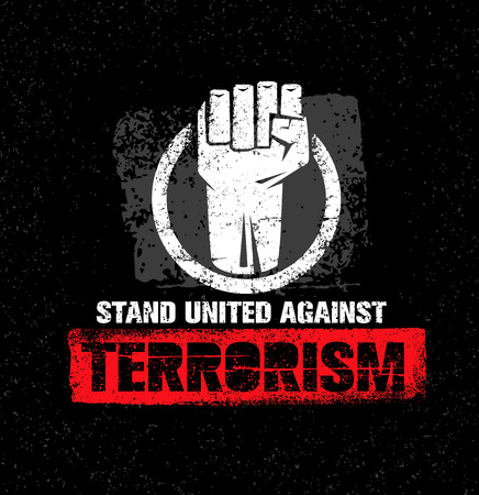 Stand United Against Terrorism. Creative Vector Design Element. Circle Fist Sign.