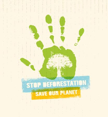 Arrêtez la déforestation Eco Green Banner. Concept de design créatif vecteur organique sur papier recyclé avec empreinte Banque d'images - 73695158