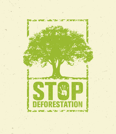 Stop Deforestation Eco Green Banner. Organic Creative Vector Design Concept On Recycled Paper Background With Handprint Illustration
