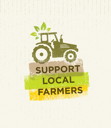 Support Local Farmers. Creative Organic Eco Vector Illustration on Recycled Paper Background Illustration