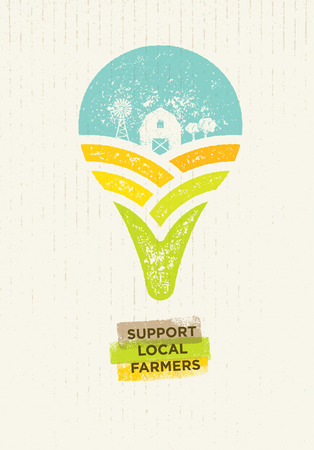 Support Local Farmers. Creative Organic Eco Vector Illustration.