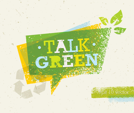 food waste: Talk Green Eco Speech Bubble on Organic Paper Background. Nature Friendly Vector Concept