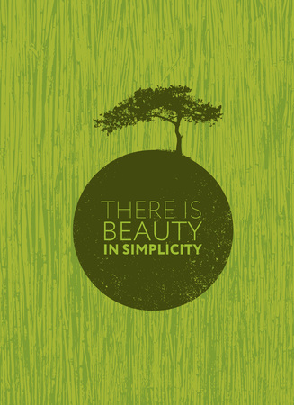 There Is Beauty In Simplicity. Organic Creative Zen Motivation Quote. Иллюстрация
