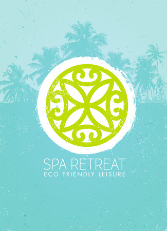 Spa Retreat Organic Eco Background. Nature Friendly Vector Concept On Rough Textured Background Illustration