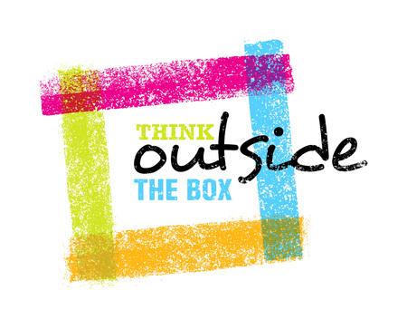 Denk buiten de doos artistieke grunge motivatie creatieve belettering samenstelling. Vector ontwerpelement Vector Illustratie