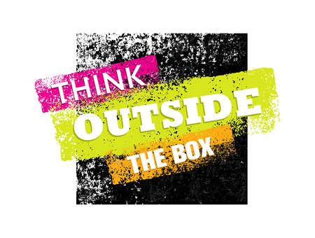 Think outside the box artistic grunge motivation creative lettering composition. Vector design element