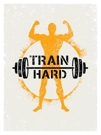 列車ハード バーベル創造的なトレーニングとフィットネスの刺激の概念。ベクトル タイポグラフィ グランジ バナー