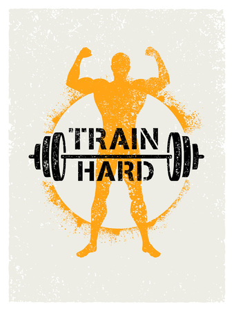 Train Hard Barbell Creative Workout and Fitness Motivation Concept. Vector Typography Grunge Banner