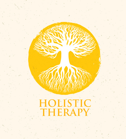 herbalist: Holistic Therapy Tree With Roots On Organic Paper Background.