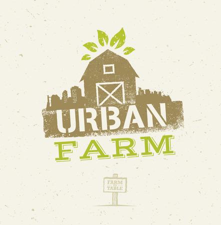 都市農場の有機エコ概念。クラフト用紙の背景に健康食品ベクター デザイン要素