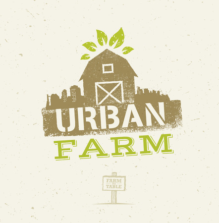 Urban City Farm Organic Eco Concept. Healthy Food Vector Design Element On Craft Paper Background