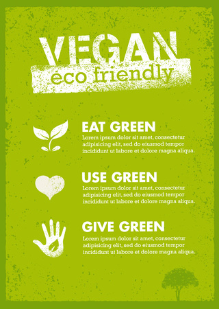 Organic Green Vegan Illustration. Creative Nature Friendly Eco Vector Concept on Recycled Paper Background