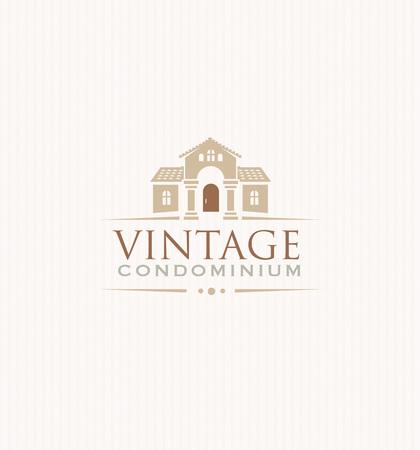 upscale: Vintage Upscale Condominium Creative Vector Emblem Concept