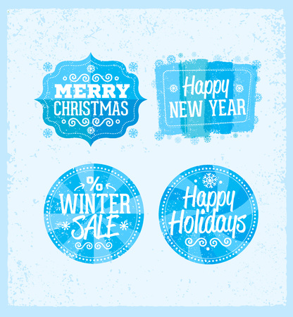 Special winter offer banner - text in blue and white drawn label with snowflake symbol, business seasonal shopping Ilustrace