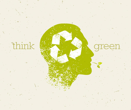 Think Green Recycle Reduce Reuse Eco Poster. Vector Creative Organic Illustration On Paper Background. 向量圖像