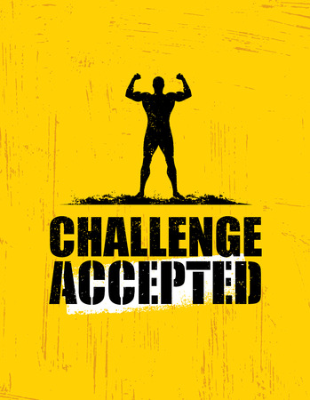 Challenge Accepted. Creative Sport And Fitness Design Element Concept. Strong Workout Vector Motivation Sign Stok Fotoğraf
